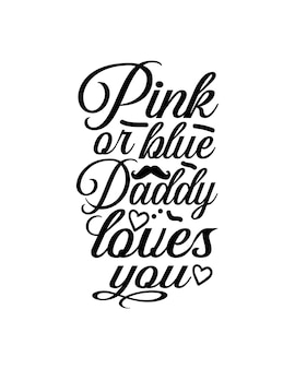 Testo fratello 02 rosa o blu nel poster di tipografia disegnati a mano
