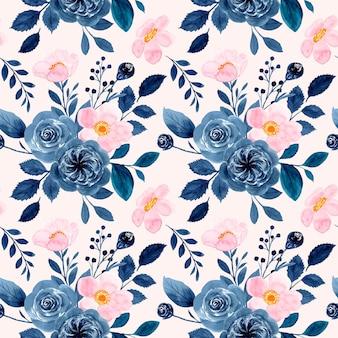 Reticolo senza giunte dell'acquerello floreale blu rosa