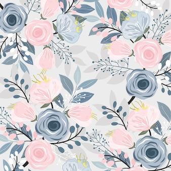 Floreale rosa e blu con motivo a foglie.