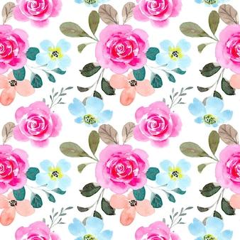 Modello senza cuciture dell'acquerello del fiore blu rosa