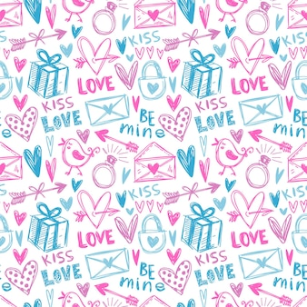 Modello senza cuciture dipinto a mano rosa e blu con illustrazioni di amore.