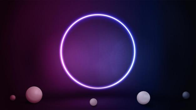 Scena rosa e blu con sfere realistiche e grande anello al neon sfumato.