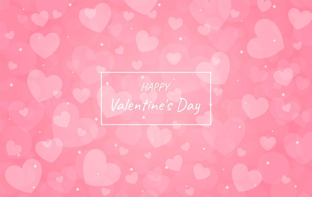 Rosa offuscata buon san valentino con sfondo bokeh di cuore.