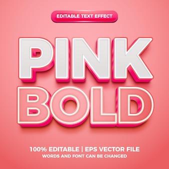 Effetto di testo modificabile 3d in grassetto rosa