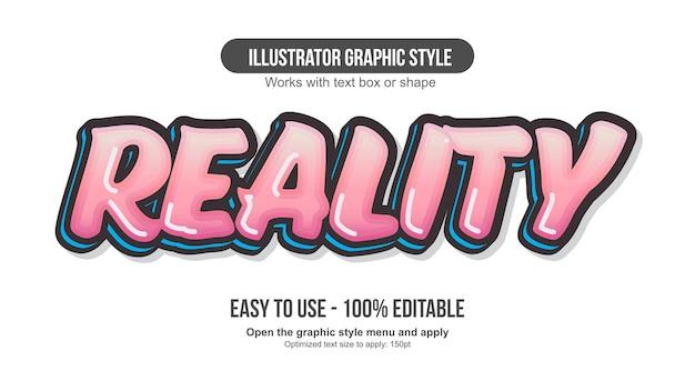 Effetto testo modificabile cartone animato pennello grassetto rosa
