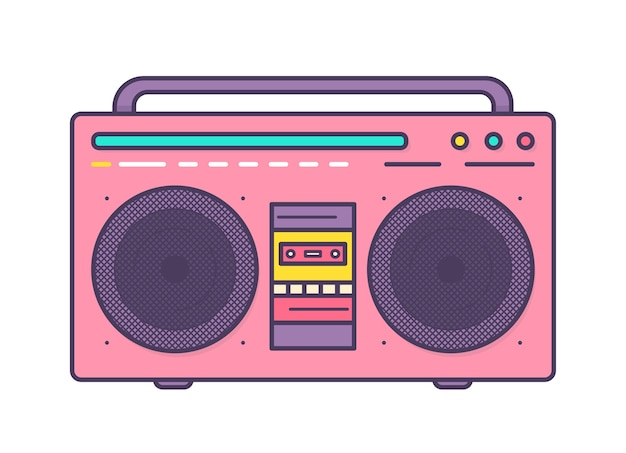 Boombox rosa, lettore musicale portatile con altoparlanti integrati, maniglia per il trasporto e registratore a cassette isolato
