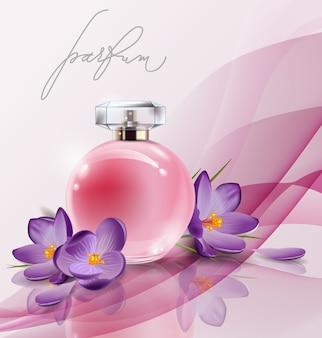 Profumo da donna bottiglia rosa con crochi fiori primaverili