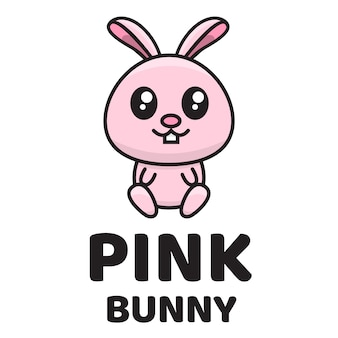 Modello di logo carino coniglietto rosa