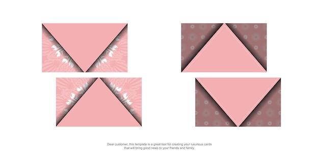 Biglietto da visita rosa con ornamenti greci bianchi per il tuo marchio.