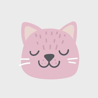 Icona ovale del viso testa di gatto rosa con gli occhi chiusi. simpatico personaggio divertente del fumetto. baffi. collezione di stampe per bambini per animali domestici. buon san valentino. stile scandinavo isolato. vettore