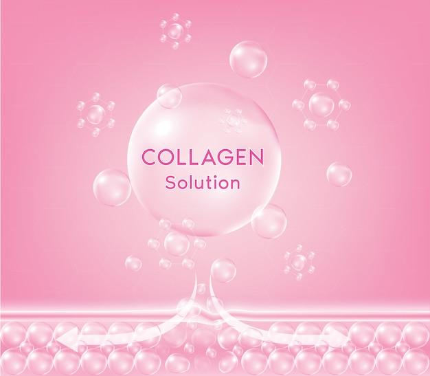 Goccia di siero al collagene rosa con cosmetico. caduta nutritiva rassodante della pelle. crema idratante detergente per pelli giovani e sensibili.