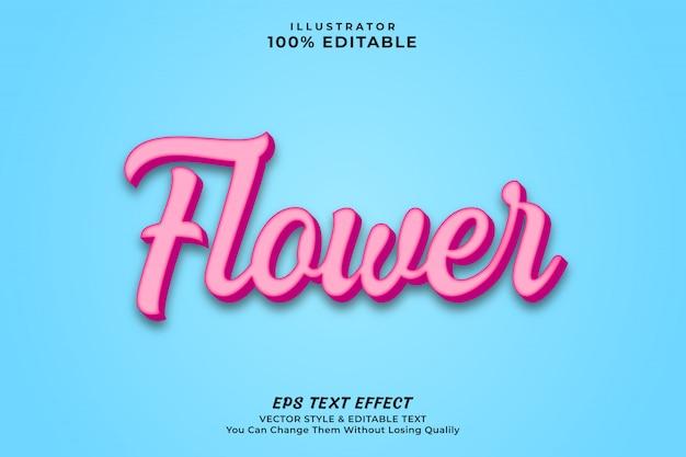 Vecto premium in stile effetto testo fiore di colore rosa