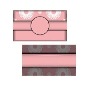 Volantino di colore rosa con motivo greco bianco per le tue congratulazioni.