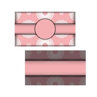 Volantino di colore rosa con motivo indiano bianco per le tue congratulazioni.