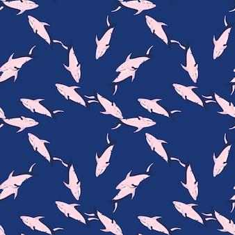 Reticolo di doodle senza giunte dell'ornamento di squalo colorato rosa in stile casuale. sfondo blu navy. stampa carina. progettato per il design del tessuto, la stampa tessile, il confezionamento, la copertura. illustrazione vettoriale.