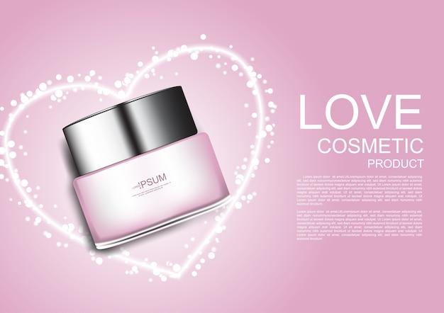 Crema cosmetica rosa nel mezzo della luce della forma del cuore