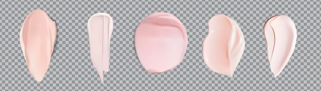 Campione rosa sbavature set isolato. set di gel da barba rosa schiuma cosmetici o crema