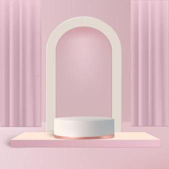 Sipario rosa a forma di palco e arco per prodotto spettacolo