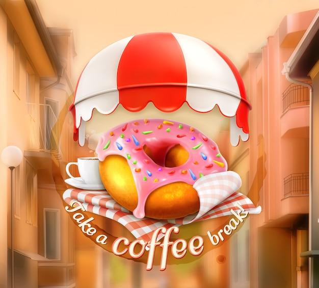Ciambella rosa e tazza di caffè, cartello esterno, illustrazione di vista strada