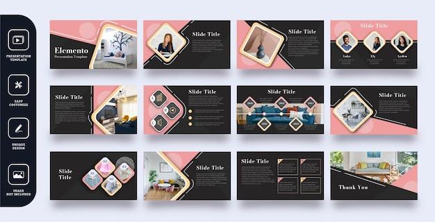 Modello di presentazione diapositiva aziendale elemento rosa
