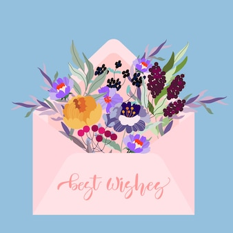 Busta rosa piena di fiori. illustrazione moderna. lettera su uno sfondo blu.