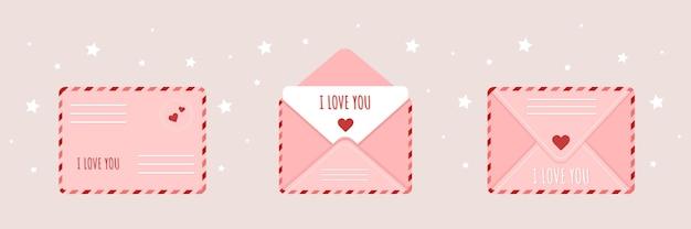 Busta rosa impostata in stile cartone animato. posta con messaggio d'amore.