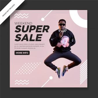 Modello di post sui social media di promozione di vendita eccellente di moda rosa