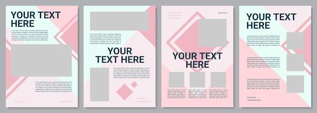 Modello di brochure femminile rosa. affari in bianco. volantino, opuscolo, stampa di volantini, copertina con spazio di copia. il tuo testo qui. layout vettoriali per riviste, relazioni annuali, manifesti pubblicitari