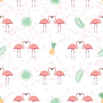 Fenicottero rosa senza cuciture. illustrazione