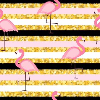 Fondo senza cuciture del modello del fenicottero rosa. illustrazione vettoriale eps10