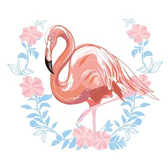 Illustrazione rosa di vettore del fenicottero isolata