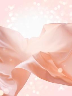 Tessuto galleggiante rosa, elementi di design romantici, seta e trama liscia su sfondo glitterato
