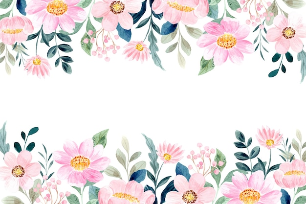 Sfondo giardino floreale rosa con acquerello