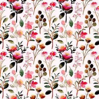 Modello senza cuciture floreale rosa con acquerello