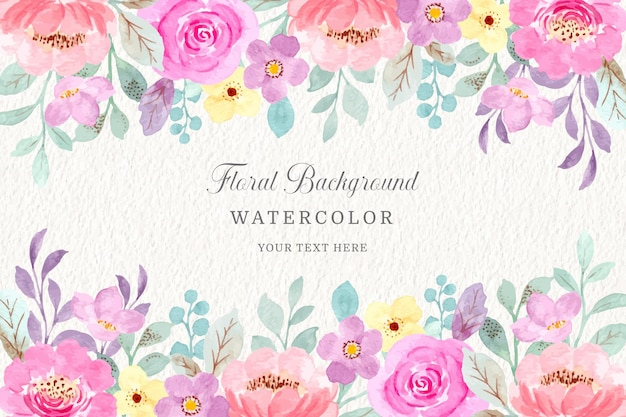 Sfondo acquerello floreale rosa