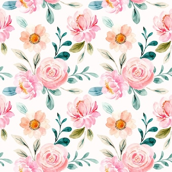 Reticolo senza giunte dell'acquerello floreale rosa
