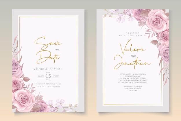 Disegno floreale rosa della carta di nozze
