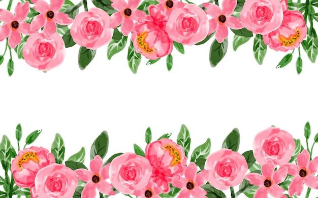 Sfondo fiore rosa con acquerello