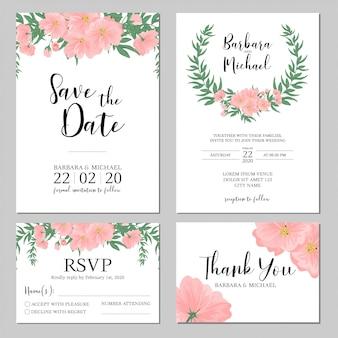 Modello di invito di matrimonio bouquet di fiori rosa