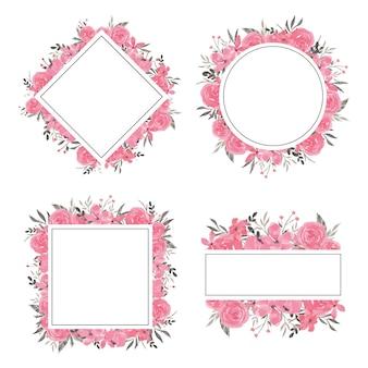 Set cornice fiore rosa