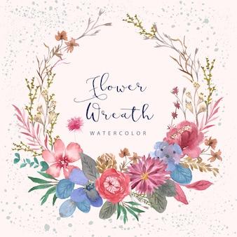 Corona rosa dell'acquerello del giardino floreale