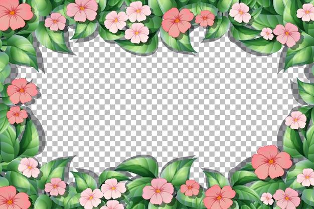 Modello di cornice di fiori e foglie rosa su sfondo trasparente