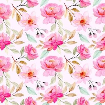 Modello senza cuciture dell'acquerello del fiore rosa