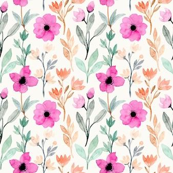 Acquerello di fiori rosa con foglie verdi senza cuciture