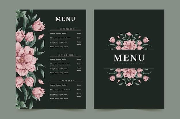 Modello di menu ristorante fiori rosa Vettore Premium