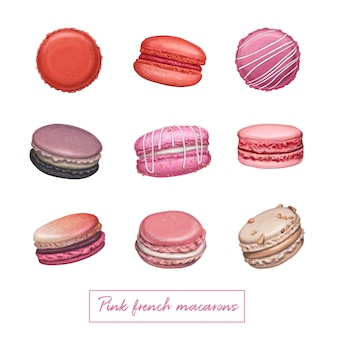 Macarons francesi rosa Vettore Premium