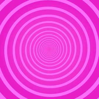 Fondo quadrato psichedelico geometrico rosa con ricciolo rotante circolare, elica o vortice. sfondo con illusione ottica rotonda o torsione radiale. semplice illustrazione vettoriale decorativo moderno.