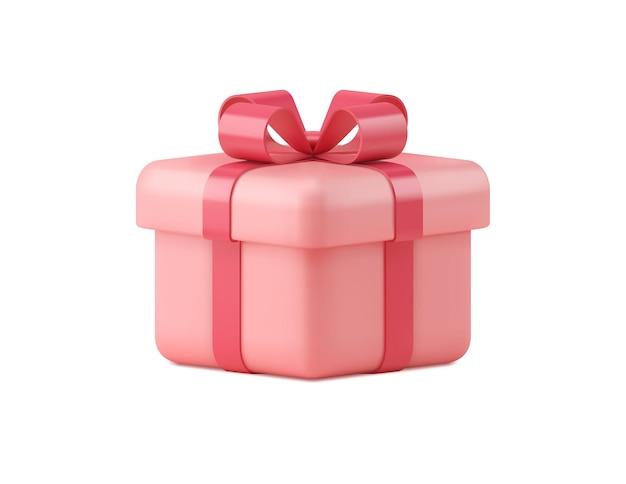 Contenitore di regalo rosa isolato su bianco