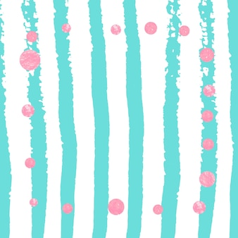 Coriandoli a pois glitter rosa su strisce turchesi. paillettes brillanti che cadono con luccichio e scintillii. design con puntini glitter rosa per invito a una festa, addio al nubilato e invito a salvare la data.