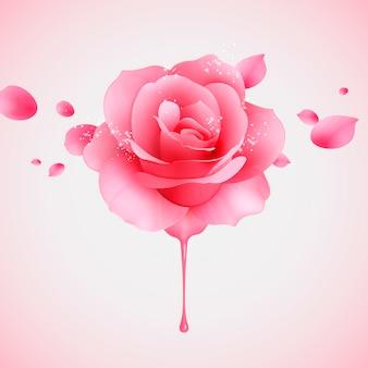 Rosa scintillante rosa e petali volanti in illustrazione 3dd
